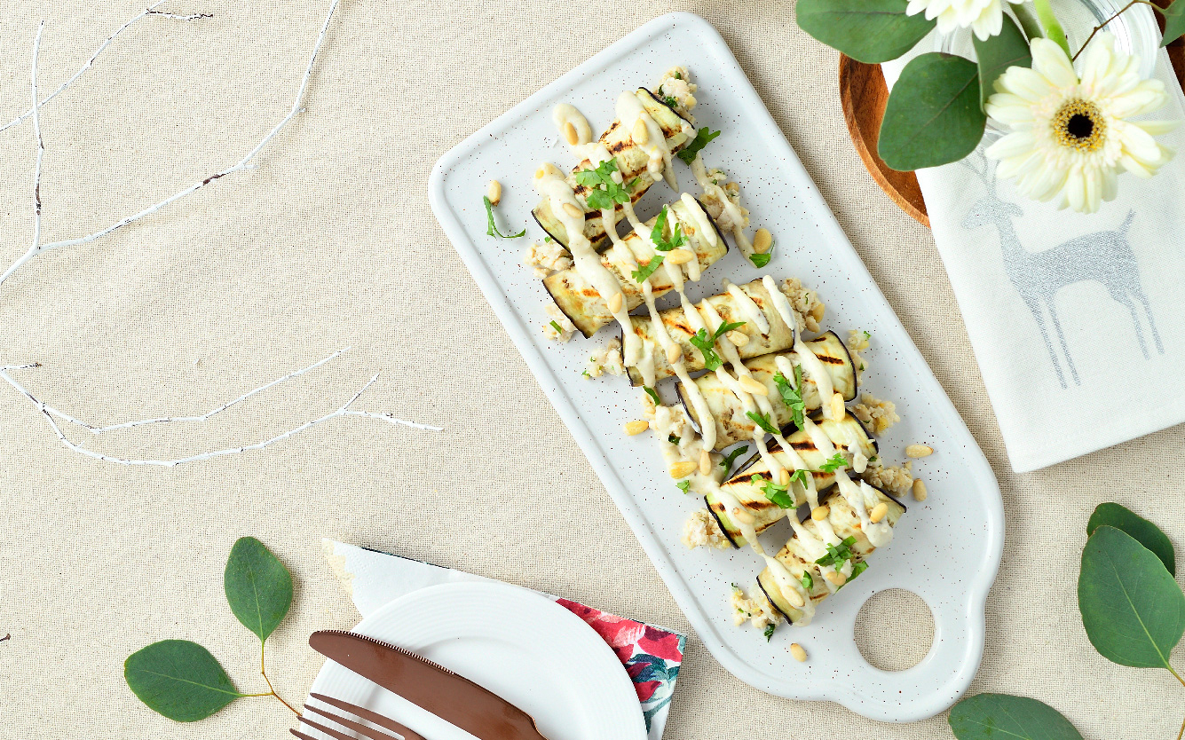 Grilled  Eggplant and Chicken Salad Rolls